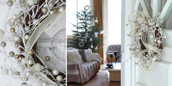 Świąteczne ozdoby do domu w tonacji bieli i srebra (52 zdjęcia)