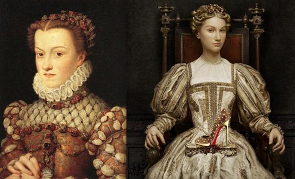po lewej Francois Clouet ? ?Elizabeth of Austria? po prawej: lookbook Christiana Louboutina