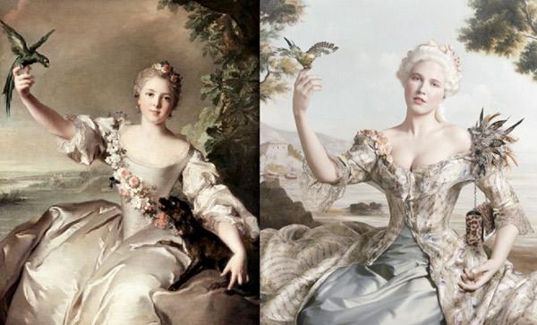 po lewej: Jean-Marc Nattier ? ?Marquise D?Antin?, po prawej: lookbook Christiana Louboutina