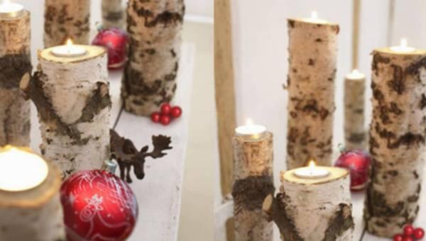 Dekoracje świąteczne – brzozowe świeczniki
