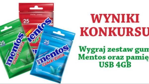 WYNIKI KONKURSU: wygraj zestaw gum Mentos oraz pamięć USB 4GB
