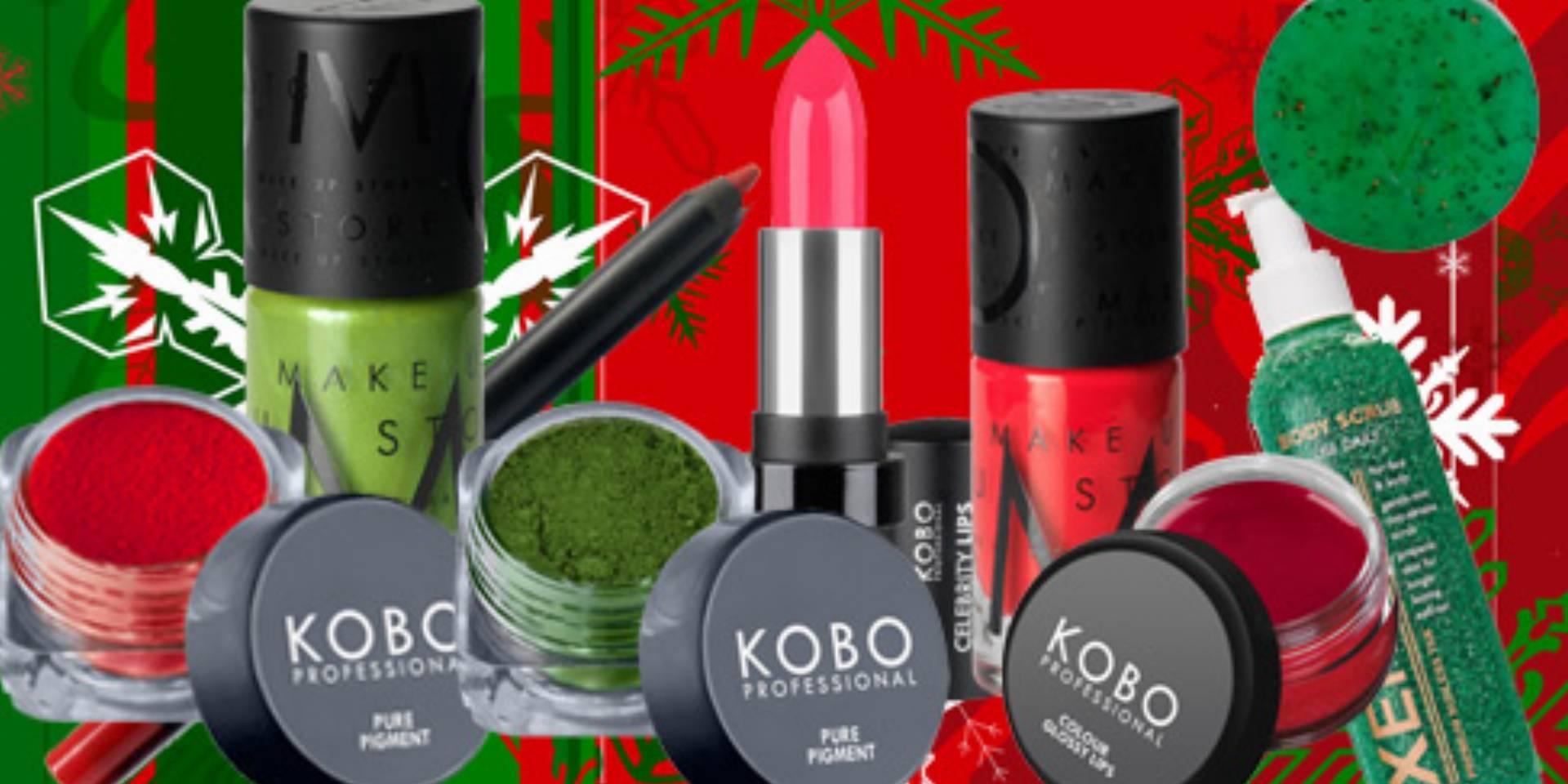 zielono czerwone kosmetyki