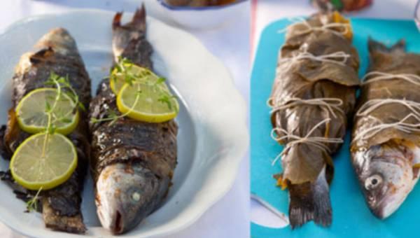 Przepis na grilla: Ryba w liściach winogron