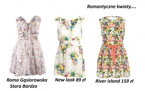 sukienki 2012, romantyczne sukienki, kwiaty drobne, sukienki łączka