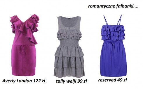 sukienki 2012, romantyczne, sukienki z falbankami