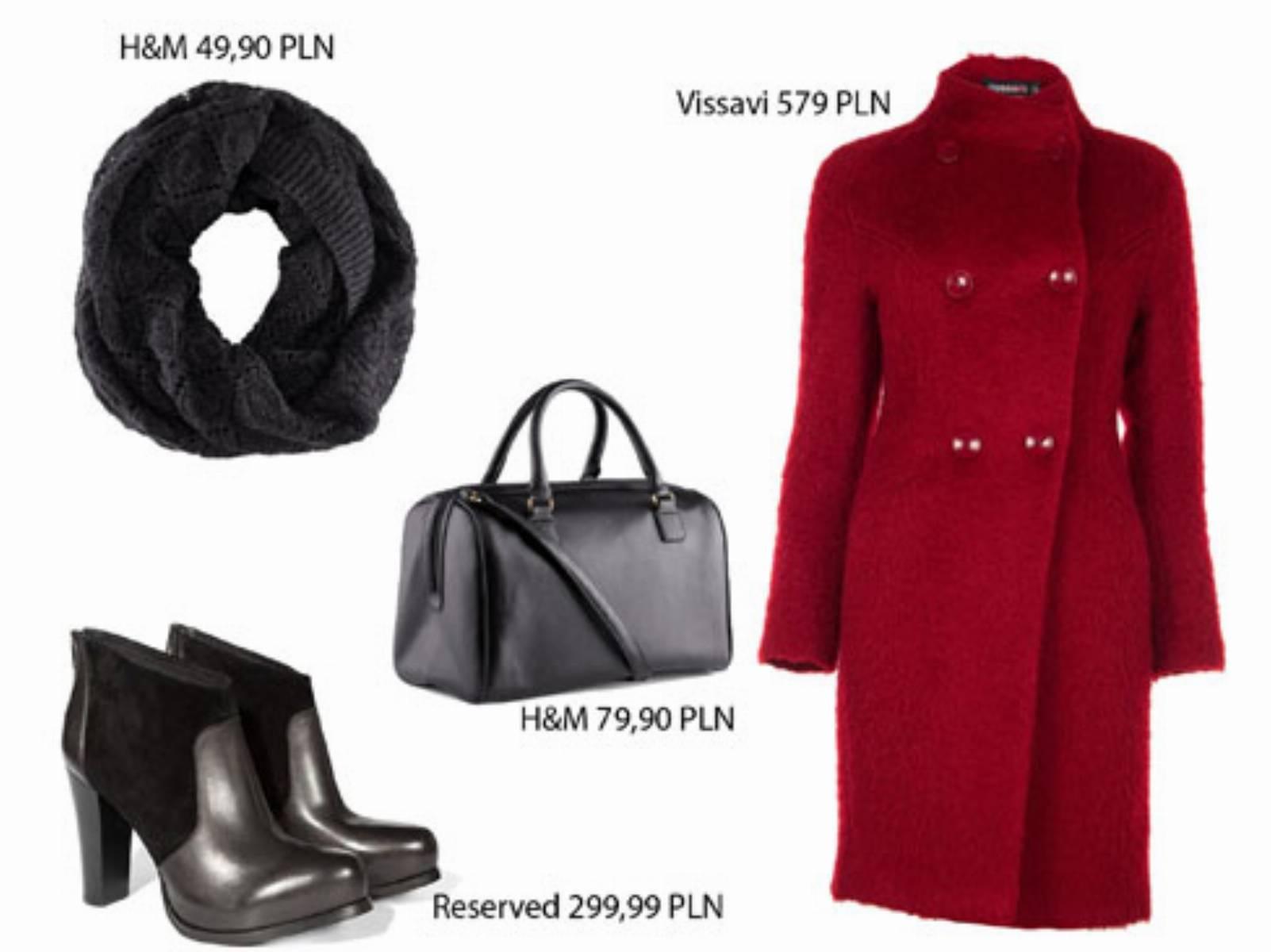 Czerwony płaszcz - stylizacja