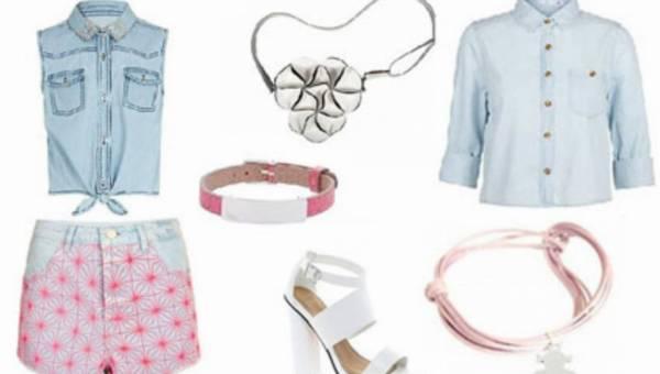 Stylizacje na lato: słodki miks różu, bieli i błękitu