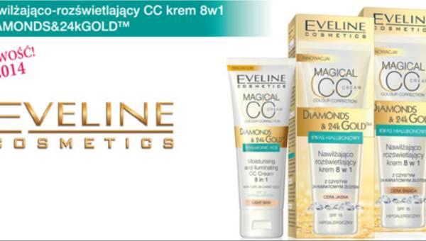 Idealny na lato – Nawilżająco-rozświetlający CC krem 8w1 DIAMONDS&24kGOLD od Eveline Cosmetics