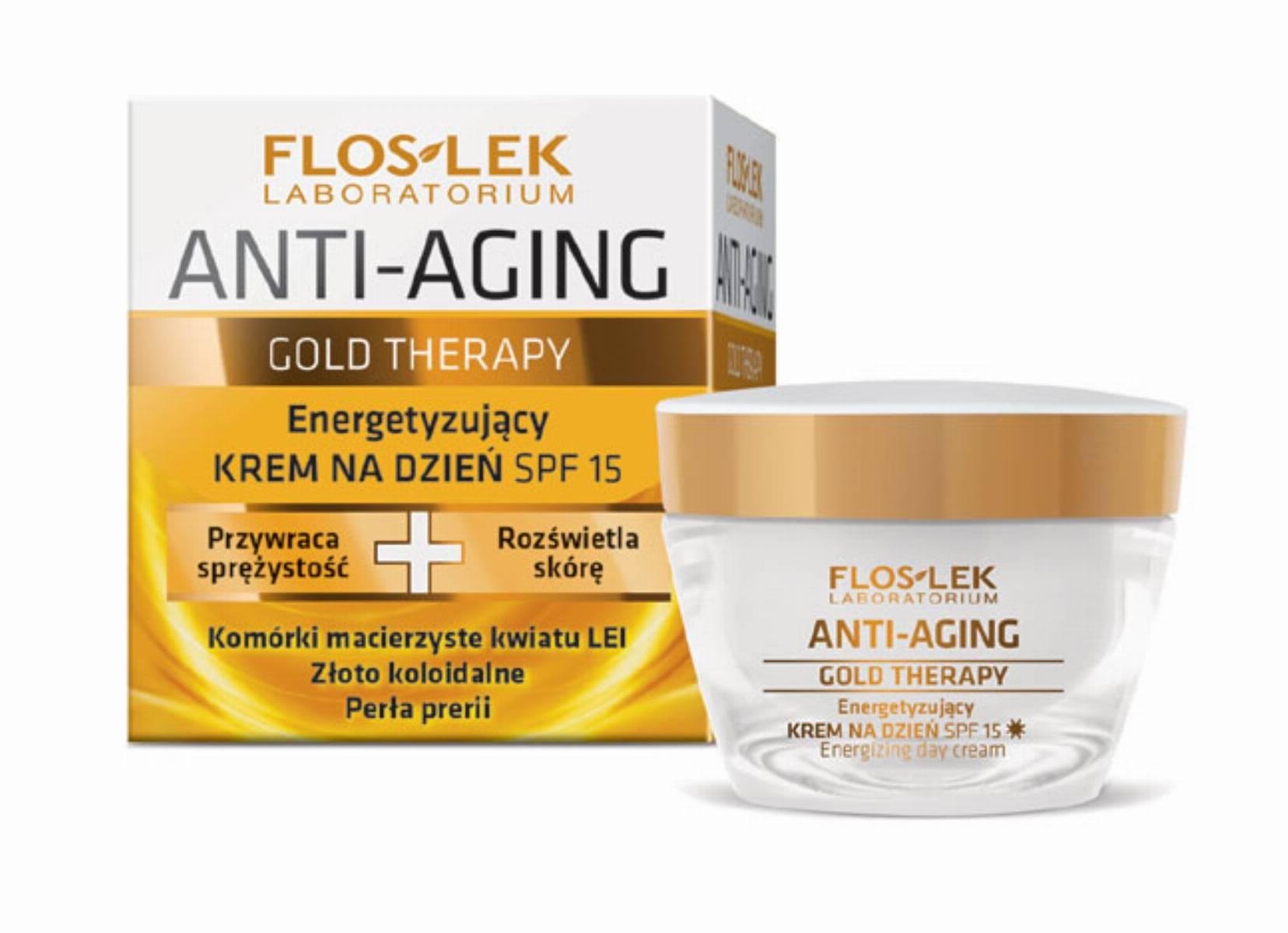 FLOSLEK Gold Therapy - energetyzujacy krem na dzien SPF 15
