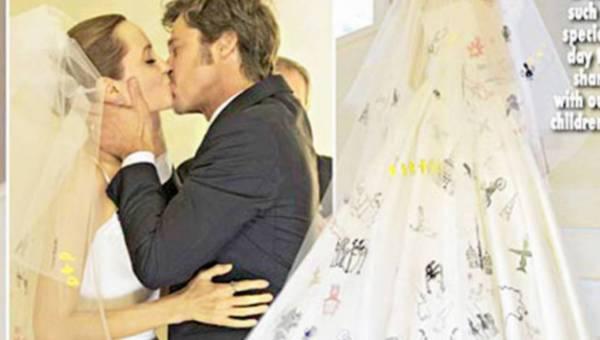 Suknia ślubna Angeliny Jolie ozdobiona rysunkami jej dzieci