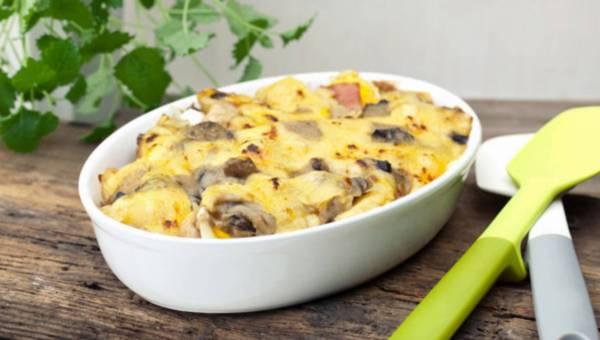 Przepis na: Zapiekanka z grzybami i żółtym serem