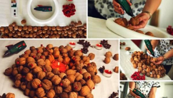 Zrób to sama (DIY): prosty świąteczny wianek z orzechów włoskich