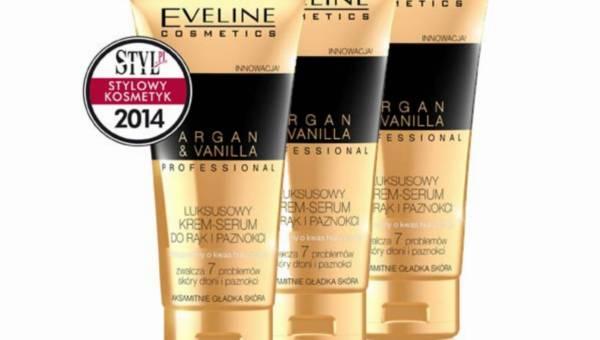 """Luksusowy krem serum do rąk i paznokci Argan&Vanilla Eveline Cosmetics z tytułem """"Stylowy Kosmetyk 2014"""""""