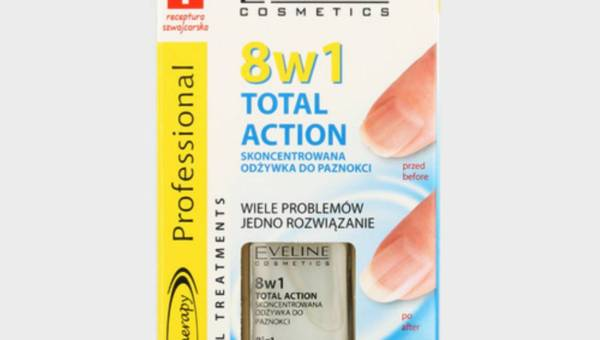 Eveline Cosmetics, Nail Therapy Professional, 8w1 Total Action, Skoncentrowana odżywka do paznokci