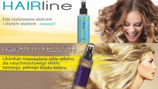 Letnie produkty do włosów Marion: Spray –  Spray efekt plażowych fal oraz Mgiełka niwelująca żółty odcień