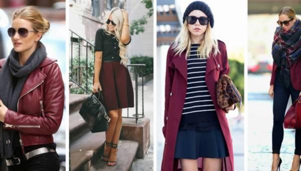Modne stylizacje na jesień 2015 w kolorze marsala