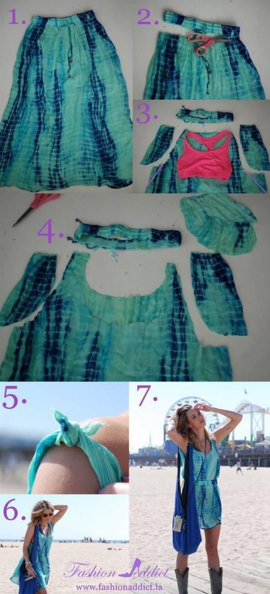 Wyjątkowa letnia sukienka w stylu boho wykonana ze starej spódnicy maxi
