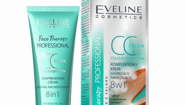 Eveline Cosmetics,  kompleksowy krem CC łagodząco-nawilżający 8w1 SOS na zaczerwienienia