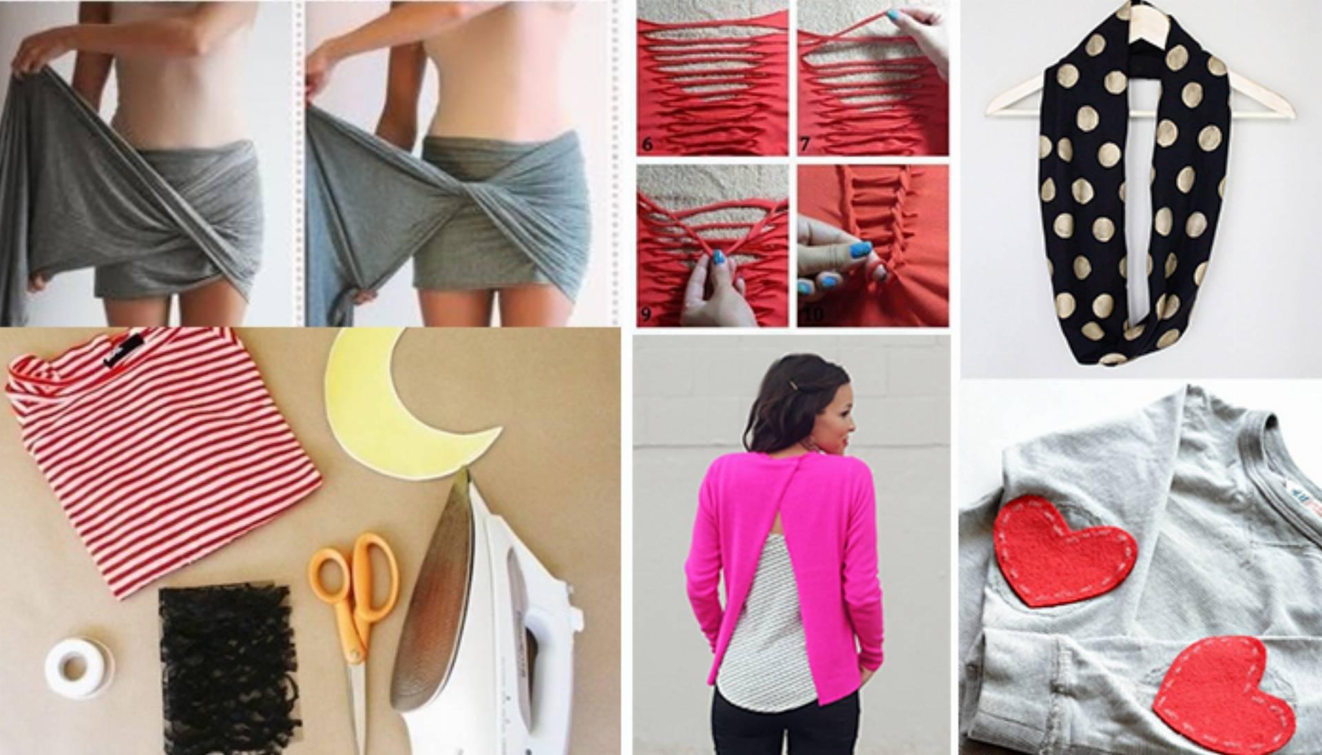 DIY ubrania - kilka pomysłów na jednym obrazku
