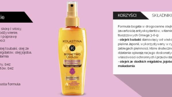 Nowy olejek wygładzająco-ochronny marki Kolastyna zawierający olejek Tsubaki