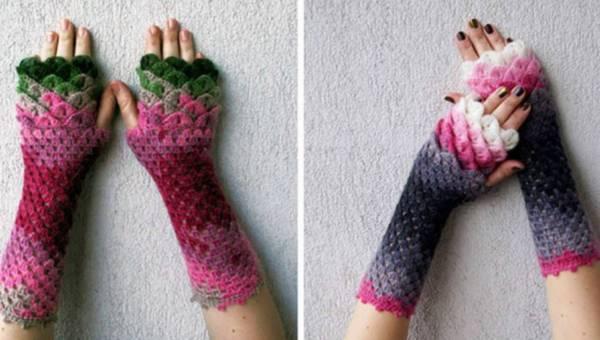 Szydełkowe rękawiczki niczym smocza łuska! Co o nich sądzicie?