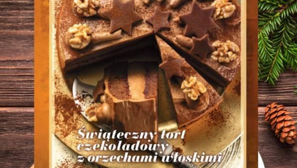 Świąteczny tort czekoladowy z orzechami włoskimi