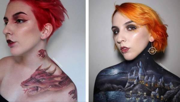 Australijska wizażystka Georgina Ryland maluje na swoim ciele sceny z filmów i bajek!