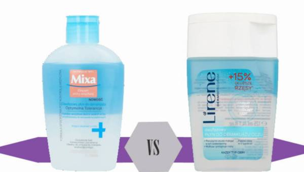 Bitwa na kosmetyki: Mixa Dwufazowy Płyn do Demakijażu Optymalna Toterancja  vs  Lirene Dwufazowy Płyn do Demakijażu Oczu 15% Dłuższe Rzęsy