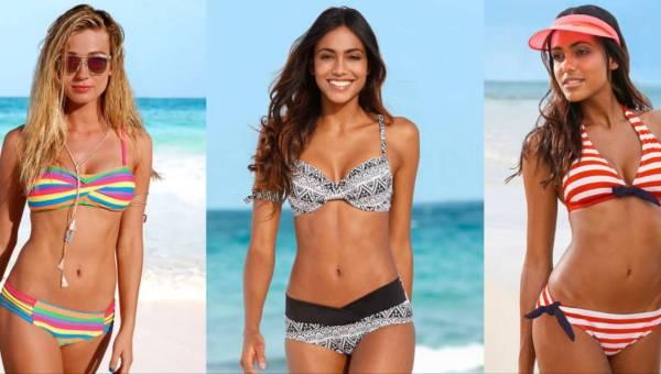 Stroje kąpielowe bonprix – czyli moda plażowa w paski, etno wzory i geometrię