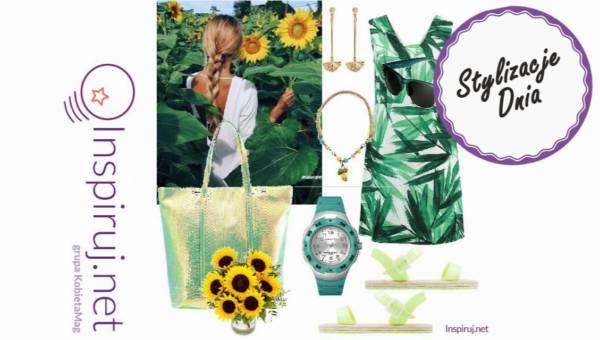 Modne gotowe zestawy – letnie sukienki z liściastym motywem