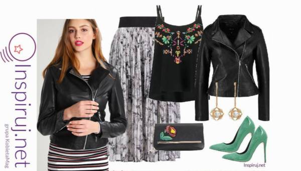 Modne outfity – Czarna ramoneska na jesień