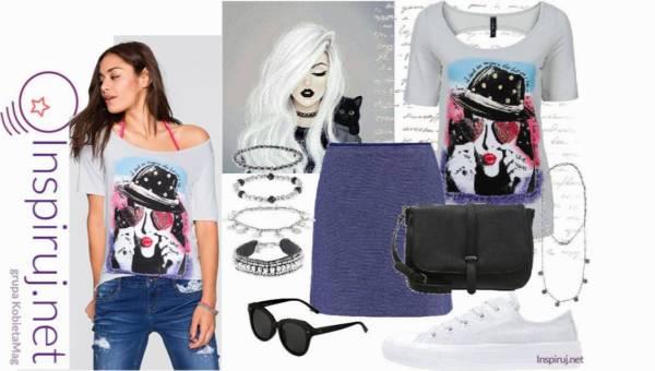 Stylizacje dnia z Inspiruj.net – T-shirty z dużym nadrukiem