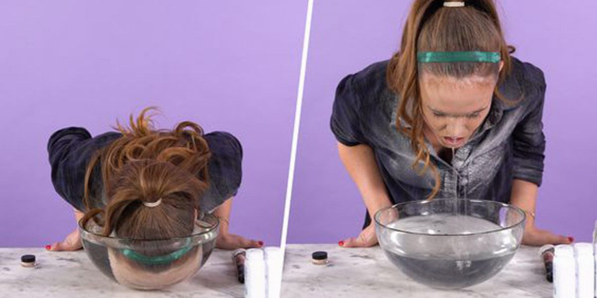 jamsu - utrwalanie makijażu zimną wodą z miski