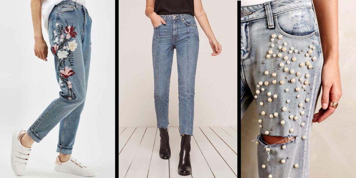 ozdobne, modne jeansy