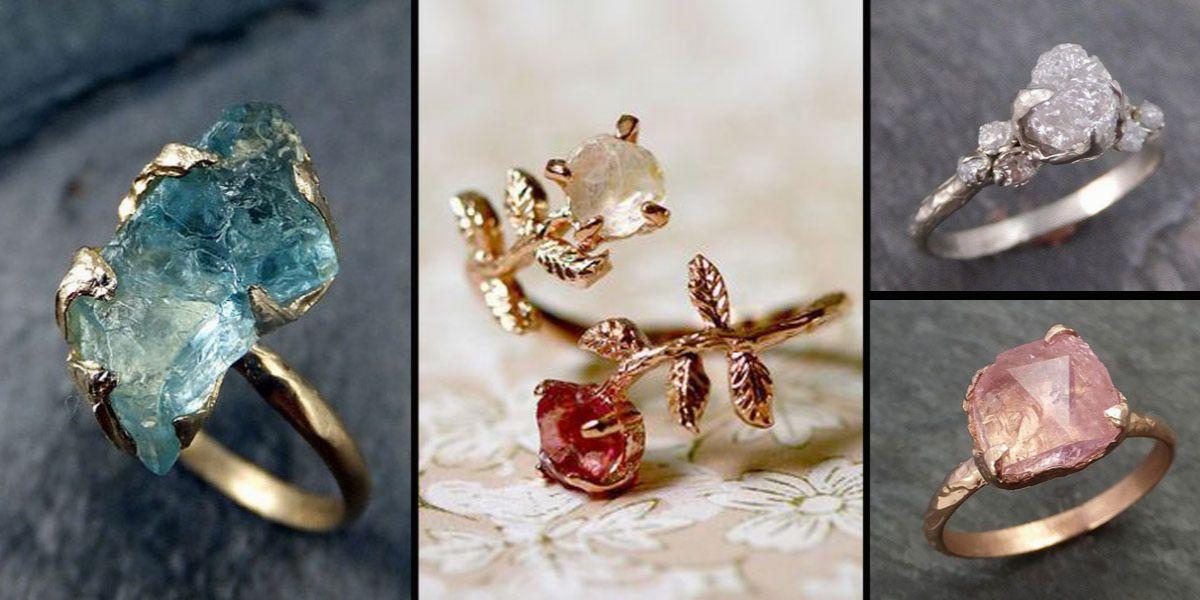 nieoszlifowane diamenty - nietypowe pierścionki