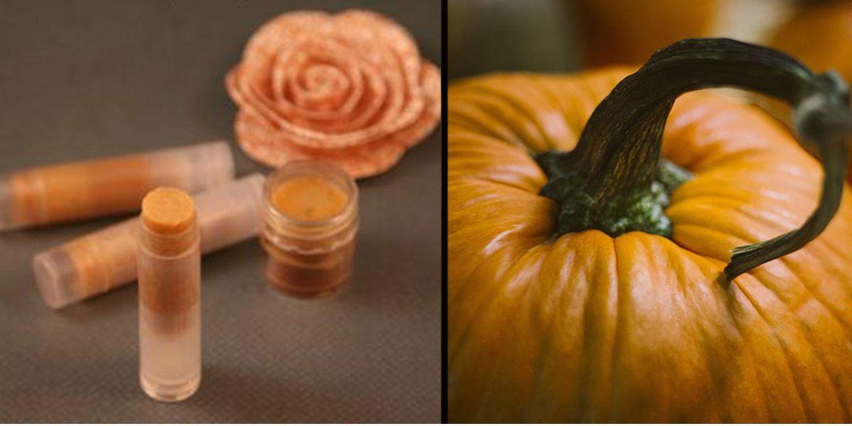 ochronny balsam do ust na jesień z dyni, dynia