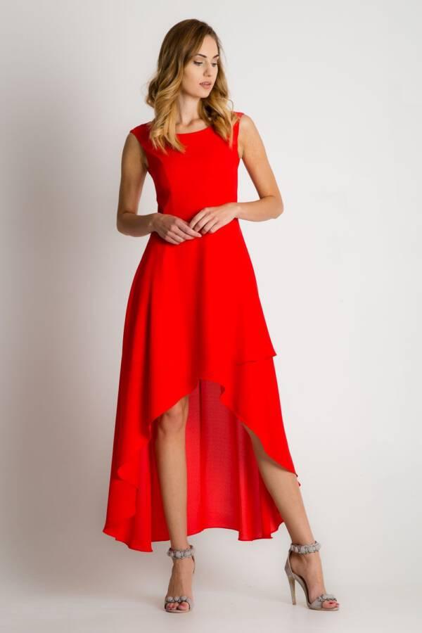 51a26e53a2 Czerwona sukienka maxi z asymetrycznym rozkloszowanym dołem – Bialcon