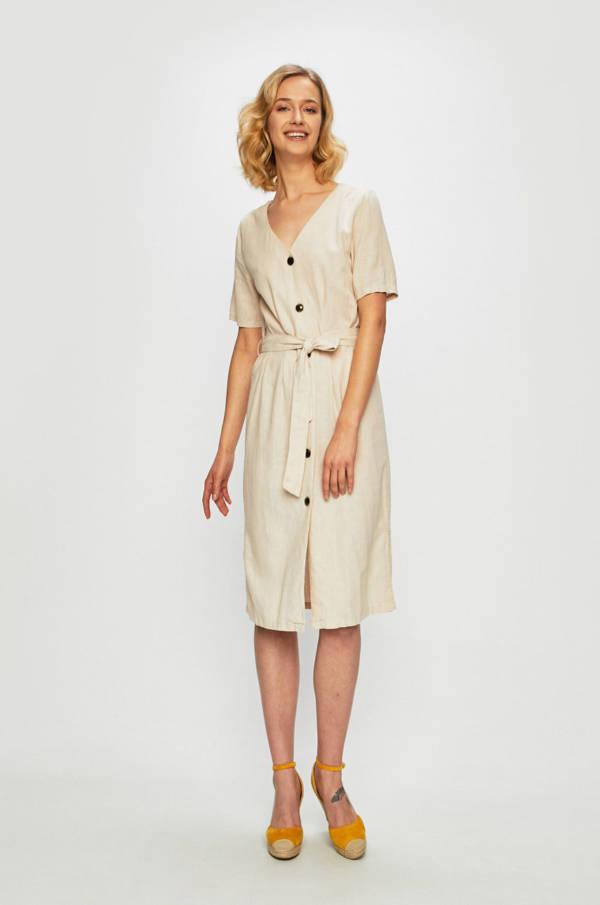 3b25ce81583935 Sukienka nude o prostym fasonie z wiązaniem w talii – Jacqueline de Yong,  149,90 zł