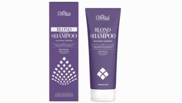 Fioletowy szampon do włosów blond marki L'biotica, Blond Toner Shampoo
