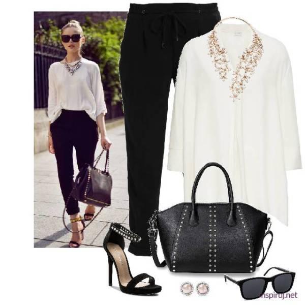 c483d43b02 stylizacja z białą bluzką oversize i czarnymi spodniami. Do tego sandały na  szpilce i ozdobna