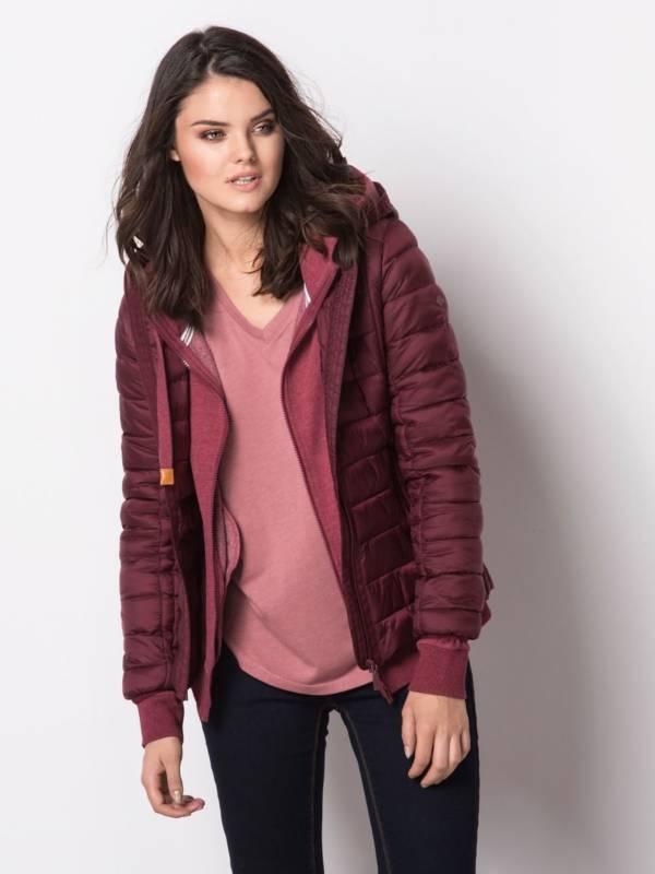 bordowa kurtka pikowana jesień zima 2018/2019 model Volcano