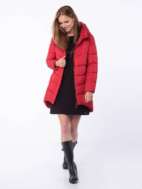 czerwona kurtka pikowana jesień zima 2018/2019 model Volcano