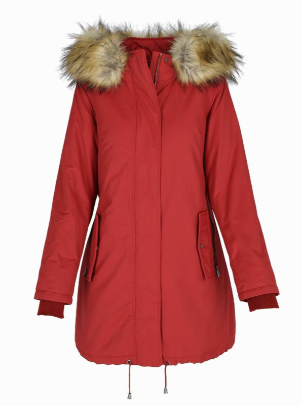 kurtka pikowana z kapturem z futerkiem jesień zima 2018/2019 model Volcano