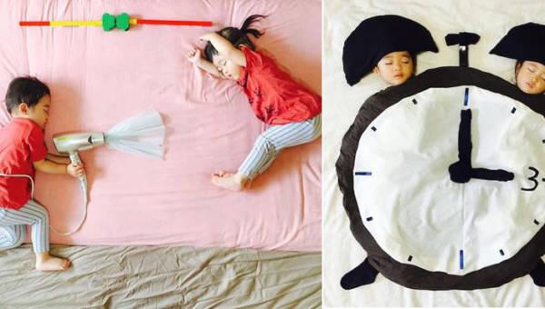Japonka Ayumi Omori fotografuje swoje śpiące dzieci. Nie są to jednak zwyczajne fotografie!