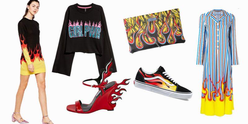 ubrania z płomieniami