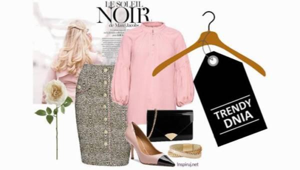 Bufiaste ramiona z ołówkową spódnicą – elegancki i modny casualowy zestaw