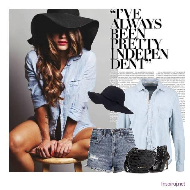 stylizacja_postrzępione szorty, botki na obcasie czarne, czarny kapelusz