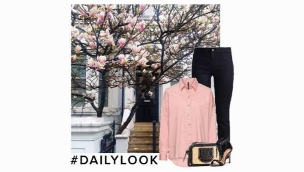 W kolorze magnolii. Casualowa stylizacja z torebką z plecionki
