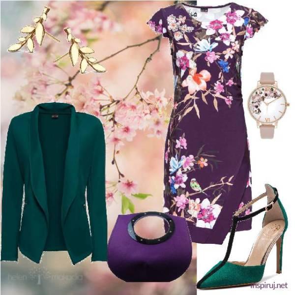 stylizacja: orientalna fioletowa sukienka, zegarek z kwiatami, seledynowa marynarka