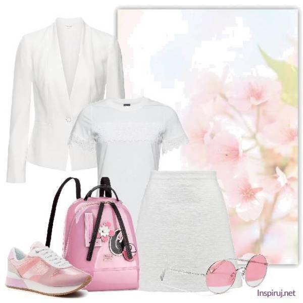 stylizacja: biały total look w japan style, różwoy pleca, różowe sneakersy i różowe okulary